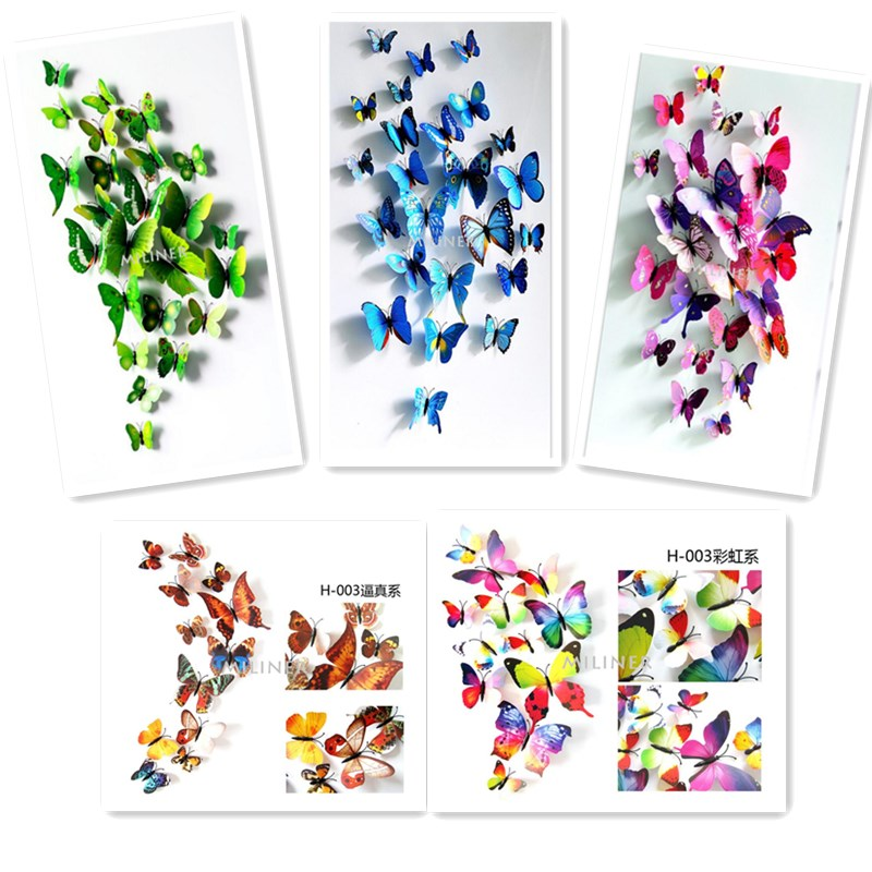 12 Pcs/Lot PVC 3D Butterfly Wall Stickers Decals Home Decor Poster for Kids Rooms Adhesive to Wall Decoration Adesivo De Parede(China)