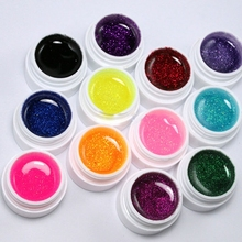 12 Color Glitter UV Gel Builder False Tips Acrylic Nail Art for Nailpolish Kit Set Nailart Dust Brand Make up tools Decorations(China)