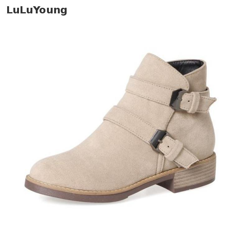 Women Autumn Low Heel Round Toe British  Style Martin Boots Shoes Female Ankle Boots Sy-2509<br>