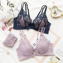 Buy Roseheart Women Fashion Purple Lace Bow Bra Sets Cross Straps Bralette Cotton Panties Push Underwear Sexy Lingerie Sets B