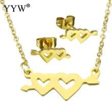 YYW Wedding Lover Gold-color Stainless Steel Jewelry Necklace Sets Double Heart Arrow Stud Earring Chain Pendant Necklace Woman(China)