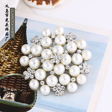 2pcs Exquisite pearl brooch inlaid diamond brooch Meihua alloy fashion lady dress pin