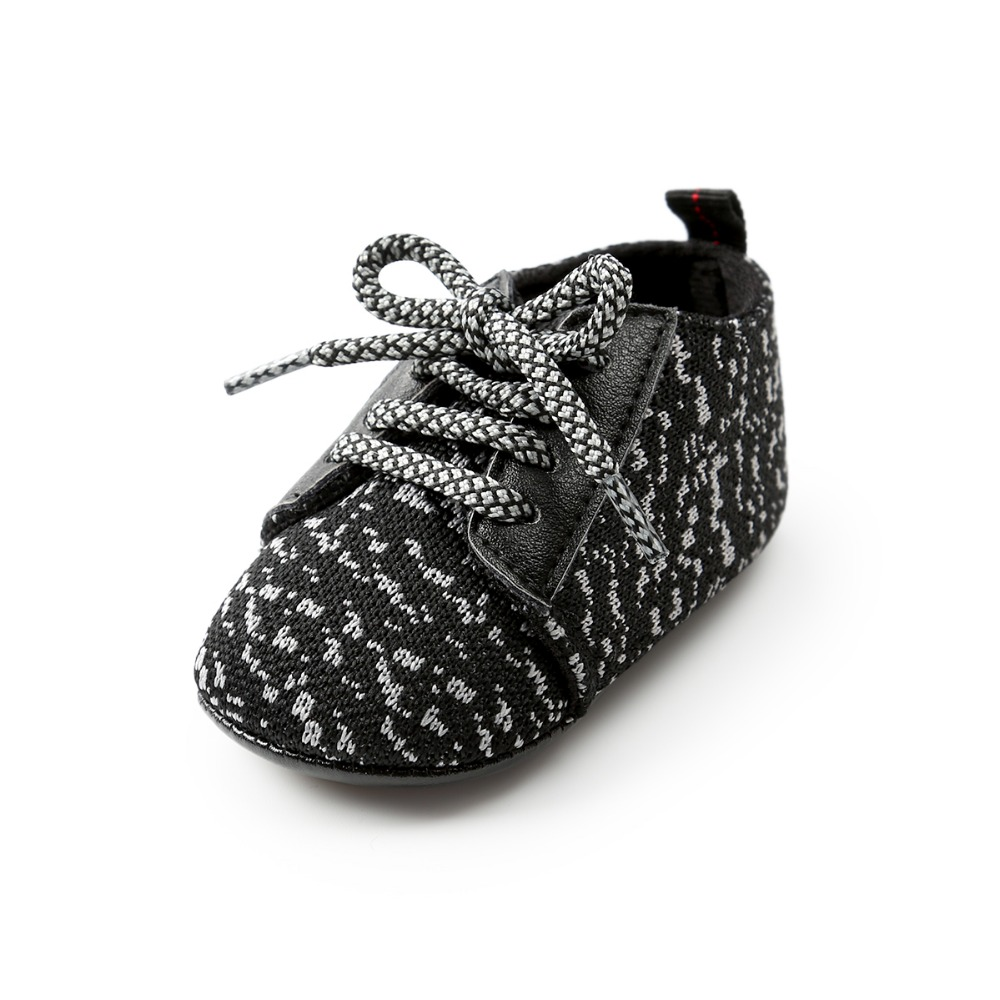 Black Toddler Shoes Newborn Boys Girls First Walkers Shoes Sneakers Non-slip Infant Prewalker Fashion Lace-up Baby Shoes.CX65