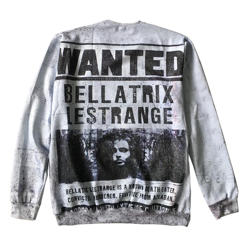 Vintage Fashion Design Sweatshirts Men Harry Potter Wanted Bellatrix Lestrange Crewneck Pullovers Harajuku Tops Sudaderas Homme
