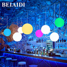 BEIAIDI 16 Color Modern Dining Room Pendant Light Milk Globe Ball Ceiling Pendant Lamp with E27 RGB Bulb Bedroom Decoration Lamp(China)
