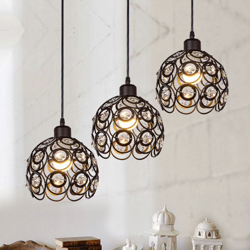 painted pendant lights with crystal  black color and white color  round ball lampshade  simple  pendnat lamp<br>
