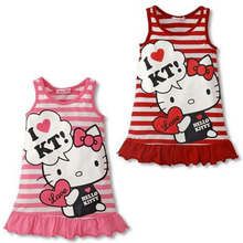 Fashion Children's Baby Girls Cartoon Kawaii Hello Kitty Dress Red Pink Striped Sleeveless Summer Kids Dresses for Little Girls