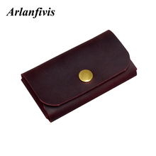 Arlanfivis Handmade Genuine Leather Nature Skin Women Business Card Holder Credit Card Case Clutch Bag Small Large Capacity Bag