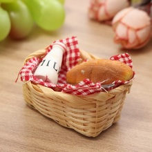 Mini Food Milk Bread Basket Miniatures Doll House Ornaments Craft Figurines Photography Props Toy Kids Gift Home Decor