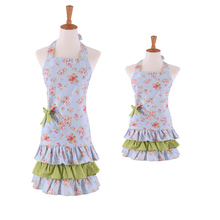 Mother & Daughter Apron Elegant Cotton-hemp Flower Lace Lady Girl Aprons Kitchen Housework Pinafore Floral Dress Stylish Bibs