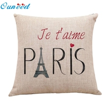 Linen Eiffel Tower Cotton Linen Pillow Case Sofa Car Back Cushion Cover Home Decor high quality Funda de almohada fronha Taie #4
