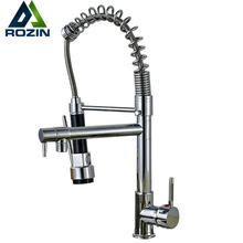 Chrome Lente Pull Down Keukenkraan Dual Tuiten 360 Swivel Handheld Douche Keuken Mixer Crane Hot Koud 2 Outlet Lente kranen(China)