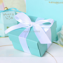 Set of 20 Tiffany Blue Wedding Favor Boxes Butterfly DIY Candy Cookie Gift Box Wedding Party Candy Box with Ribbon Tiffany Blue
