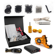 Pro Complete Tattoo Machine Kit Set 1Pcs Bishop Rotary Tattoo Machine Gun Power Supply Needles Grips Tips Footswitch With Case