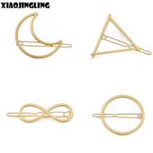 XIAOJINGLING New Hairpins Triangle Moon Hair Pin Jewelry Lip Round Hair Clip For Women Barrettes Head Accessories Bijoux De Tete