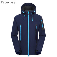 Facecozy Men's Autumn Outdoor Breathable Camping Softshell Jacket Front Zipper Hooded Thermal Fishing Coat