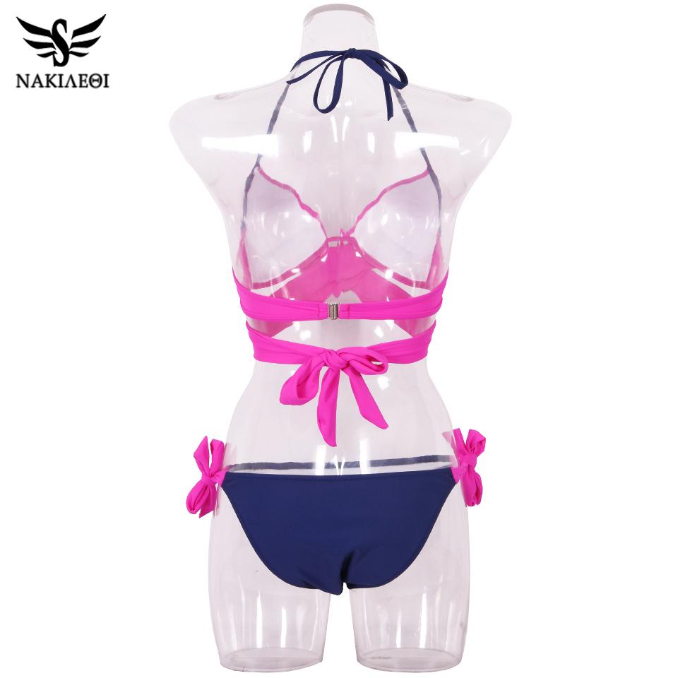 NAKIAEOI 19 Sexy Bikini Women Swimsuit Push Up Swimwear Criss Cross Bandage Halter Bikini Set Beach Bathing Suit Swim Wear XXL 67