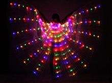 Buy Women's Fiber Optic Costume Wings Glow Dark Isis Wings LED Light Belly Dance Wings Stick Colorful Free for $50.22 in AliExpress store