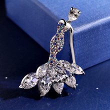 Aladdin Figure Brooches Crystal zircon mermaid corsage Metal Alloy shining suit dress top grade breastpin Jewelry gift packaging(China)