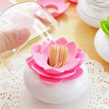 New Style Lotus Flower Shape Tooth Pick Holder Toothpick Case Cotton Swab Bud Storage Box Pink/Green
