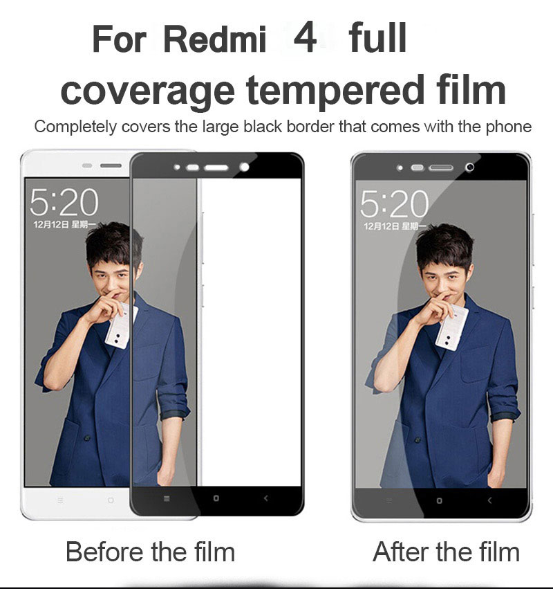 TOMKAS For Xiaomi Redmi 4 32G Glass Screen Protector Scratch Proof Full Cover For Xiomi Redmi 4 16G 4X 4A 5A Tempered glass