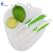 3pcs/set Kitchen Knives Set Non-Slip Utility Knife+ Peel Knife +Cutting Board Ceramic Kitchenware Cutting Utensils Cooking Tools