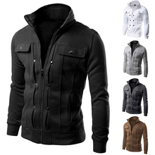 4XL Men's Hoodies Sweatshirts Slim Fit Stand Collar Coat Tops Military Jacket Winter Outerwear Blazer Men Fleece Hoodie Zipper
