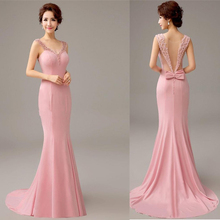 Pretty 2017 New Pink Mermaid Evening Dress with Pearls and Bow Formal Evening Gowns Long Party Dresses with Train Vestido(China)