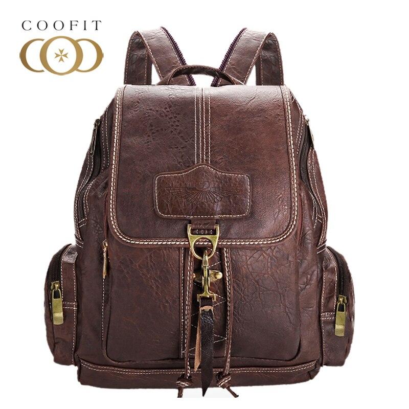 Coofit Design PU Leather School Backpack For Teenage Girls Vintage Women Laptop Backpack Travel Bag Female Drawstring Rucksacks<br>