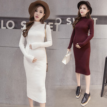 Maternity basic knitted skirt autumn and winter turtleneck maternity clothing maternity dress full maternity sweater autumn and(China)
