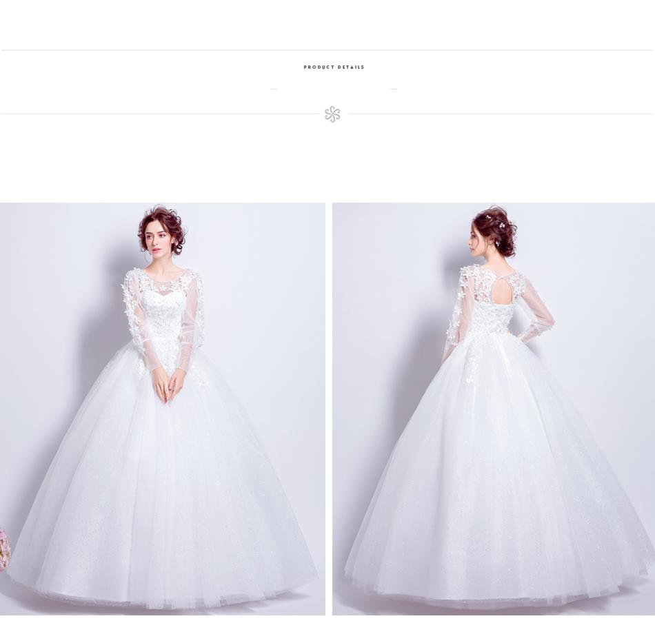 Angel Wedding Dress Marriage Bride Bridal Gown Vestido De Noiva 2017 Sweet, lace, flowers, long sleeves, 6011 15