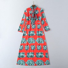 European and American women's wear in 2018 The new spring clothing The scarf collar Long sleeve Cabbage printing Long dress(China)