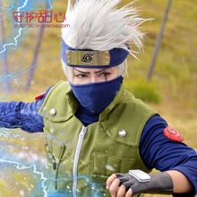 Naruto Cosplay wigs halloween cosplay headband Hatake Kakashi cosplay wigs for men 35cm slivery short wigs hairpiece