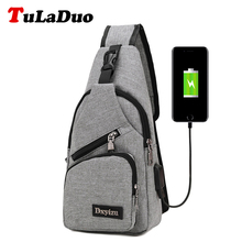 Multifunction Men's Crossbody Bag Casual Travel Chest Pack Bag Canvas Messenger Bag Usb Charging Interface Preppy Style Man Bags