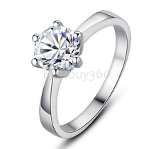 Charles&Colvard Brand new original 0.5ct 6 prongs pure 925 silver simulation moissanite ring 18k white gold PT950 ring