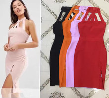 New high neck women fashion sexy attractive cute elegant orange split party bandage Dresses