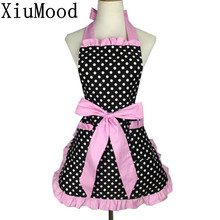 XiuMood Fashion Sexy Aprons 100% Cotton Cute Bib White Dots Kitchen Cooking Women Apron Dress Pink With Pocket Gift