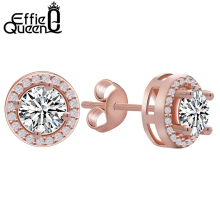Effie Queen 2017 Fashion New Hot Popular Luxury Zircon Stud Earrings Elegant Rose Gold-Color Earrings for Women DE104-R-W(China)