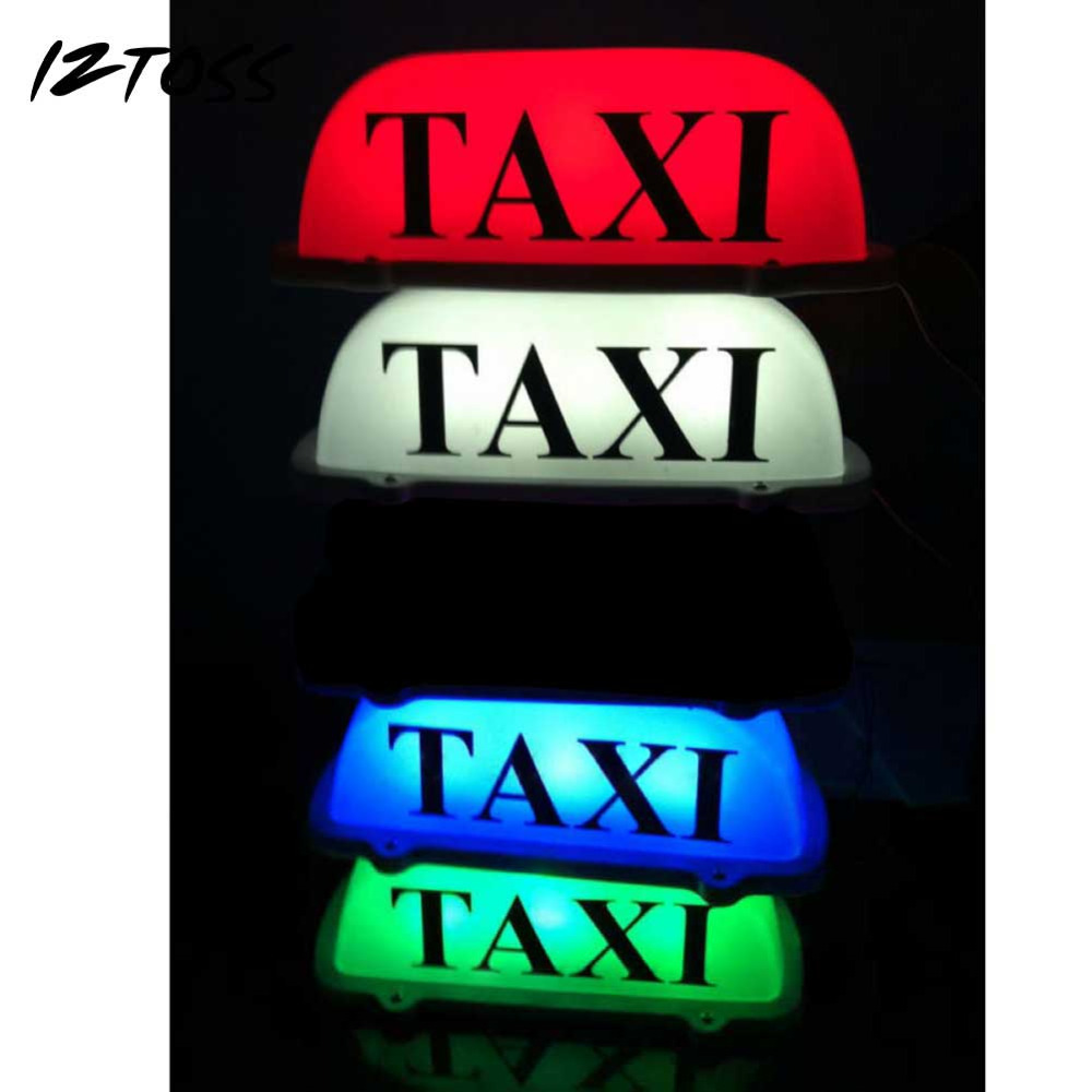 IZTOSS Taxi Top Light/New LED Roof Taxi Sign 12V with Magnetic Base Green/Red/Blue/White optional<br>