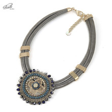 Badu Vintage Leather Necklace Women Short Choker Statement Necklaces Crochet Choker PU Leather Winter Jewelry Party