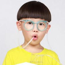 New Fashion Kids Funny Novelty Creative Glasses Straws PET Funny Glasses Straw Eye Frame Size Blue,Green,Red,Yellow(China)