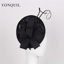 High quality 15 colors black fascinator with Ostrich pole imitation sinamay fascinators bridal hair accessories occasion hats(China)
