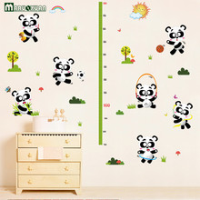 New Design Red Panda Height Wall Stickers For Kids Room Small Animal Cartoon Child Height Wall Decals Vinyl Stickers Home Decor