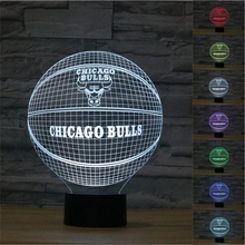 NBA Jordan CHICAGO BULLS Illusion Table Lamp 7colors changing World Champions Basketball Team Sign Night Light NEW YEAR decor