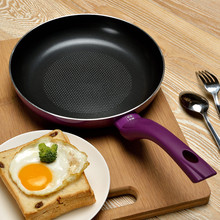 free shipping 24cm purple non-stick frying pan flat bottom pot no smoke ceramic coating  frypan cooking pan  no lid