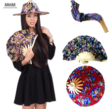 Fashion Sun Cap 1pc Folding Fan Hand Held Folding Fans Traveling Cap Summer Women Girl Fan Hat Bamboo Dancing Fan Traveling-cap