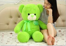 lovely plush green teddy bear toy stuffed apple bear doll pillow about 100cm(China)
