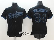 MLB Men's Los Angeles Dodgers 34 Valenzuela Shadow Black Baseball 2017 Flex Base Authentic Collection Player Jersey(China)
