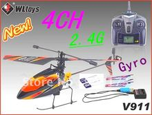 New Arrivals 4CH 2.4Ghz Radio Remote Control Helicopter single propeller LCD Display 23cm RC Helicopter Gyro V911+Free Shipping
