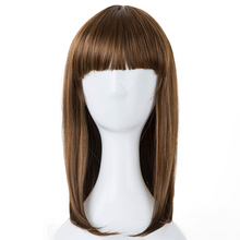 Fei-Show Synthetic Heat Resistant Fiber Medium Wavy Child Hair Light Brown 44 CM Head Circumference Wigs For 4-10 Year-old Girls